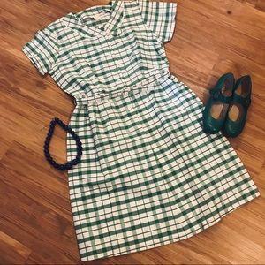 Vintage Green Gingham Day Dress